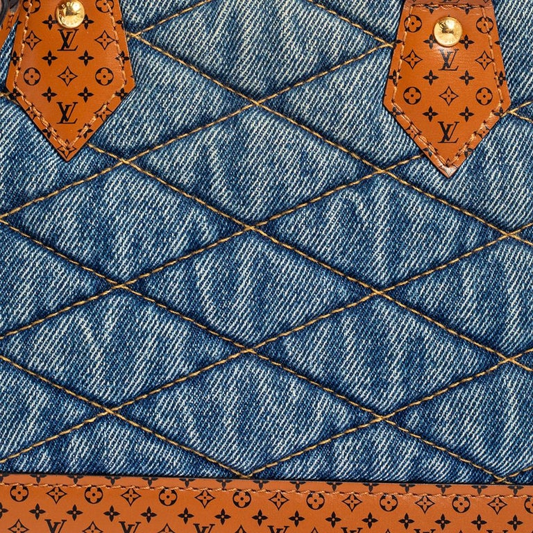 Louis Vuitton Blue Denim and Monogram Leather Alma BB Bag 3