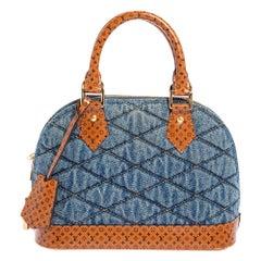 Louis Vuitton Blue Denim and Monogram Leather Alma BB Bag