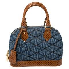 Louis Vuitton Blue Denim and Monogram Leather Alma BB Satchel