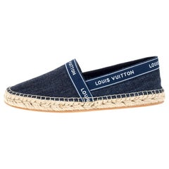 Louis Vuitton Blue Denim Fabric Espadrille Flats Size 38