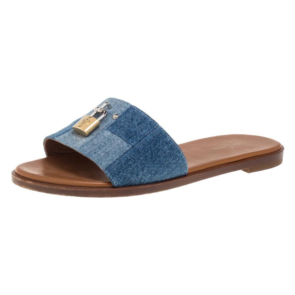 Louis Vuitton Blue Denim Fabric Lock It Flat Slides Size 37.5