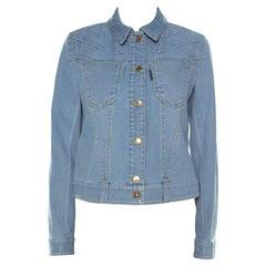 Louis Vuitton Blue Denim Patterned Yoke Detail Jacket M