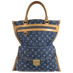 Louis Vuitton  Blue Denim Sac Plat Monogram Tote Bag