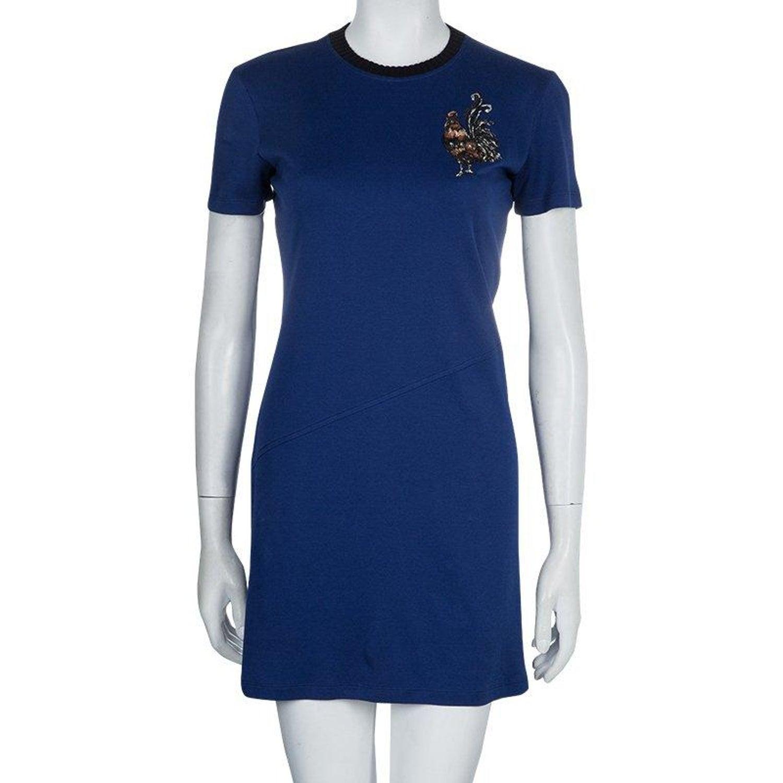 be49eb2a36 Louis Vuitton Blue Embroidered Motif Detail Crew Neck T-Shirt Dress S
