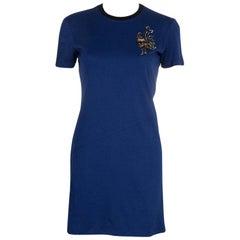 Louis Vuitton Blue Embroidered Motif Detail Crew Neck T-Shirt Dress S