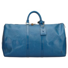 Louis Vuitton Blue Epi Keepall 50