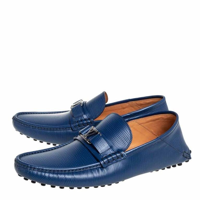 Louis Vuitton Blue Epi Leather Hockenheim Slip On Loafers Size 42 In New Condition For Sale In Dubai, Al Qouz 2