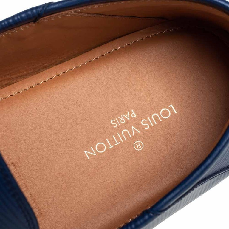 Men's Louis Vuitton Blue Epi Leather Hockenheim Slip On Loafers Size 42 For Sale