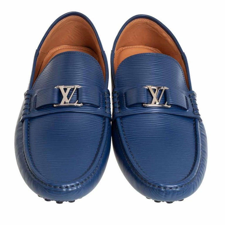 Louis Vuitton Blue Epi Leather Hockenheim Slip On Loafers Size 42 For Sale 1