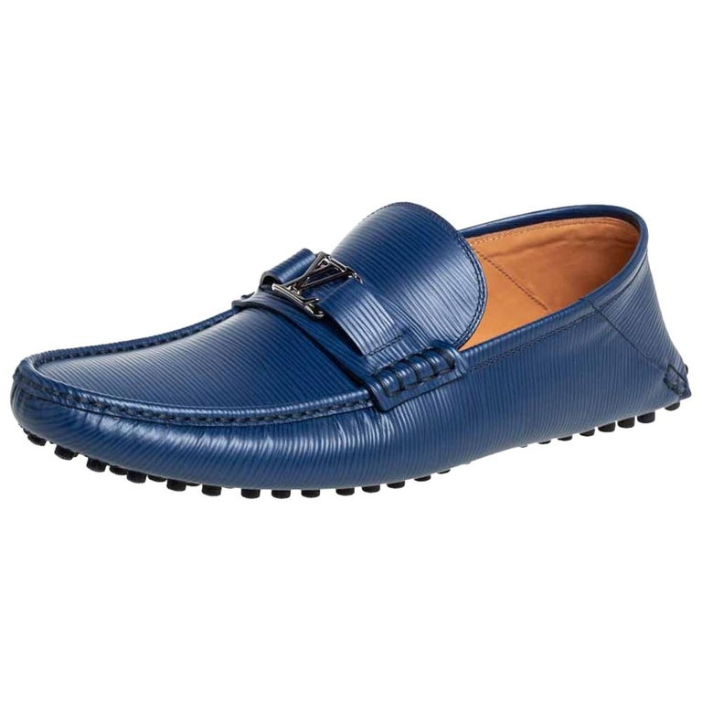 Louis Vuitton Blue Epi Leather Hockenheim Slip On Loafers Size 42 For Sale