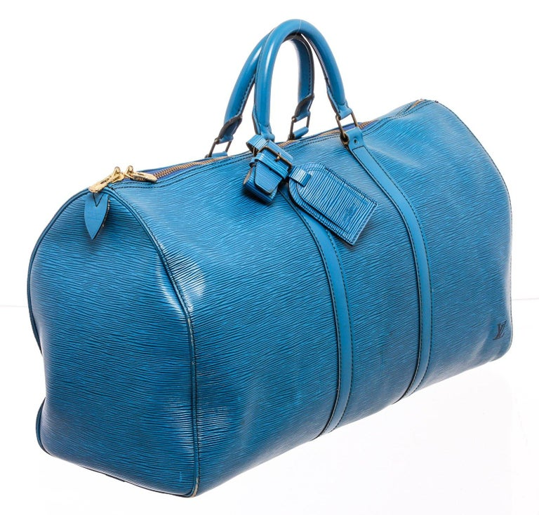 Louis Vuitton Blue Epi Leather Keepall 55 cm Duffle Bag Luggage For Sale 1