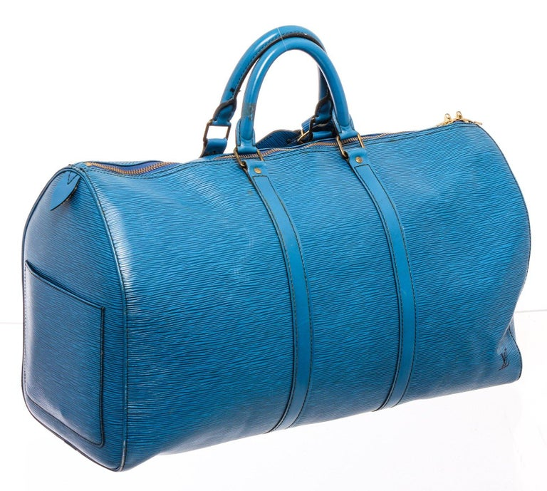 Louis Vuitton Blue Epi Leather Keepall 55 cm Duffle Bag Luggage For Sale 2