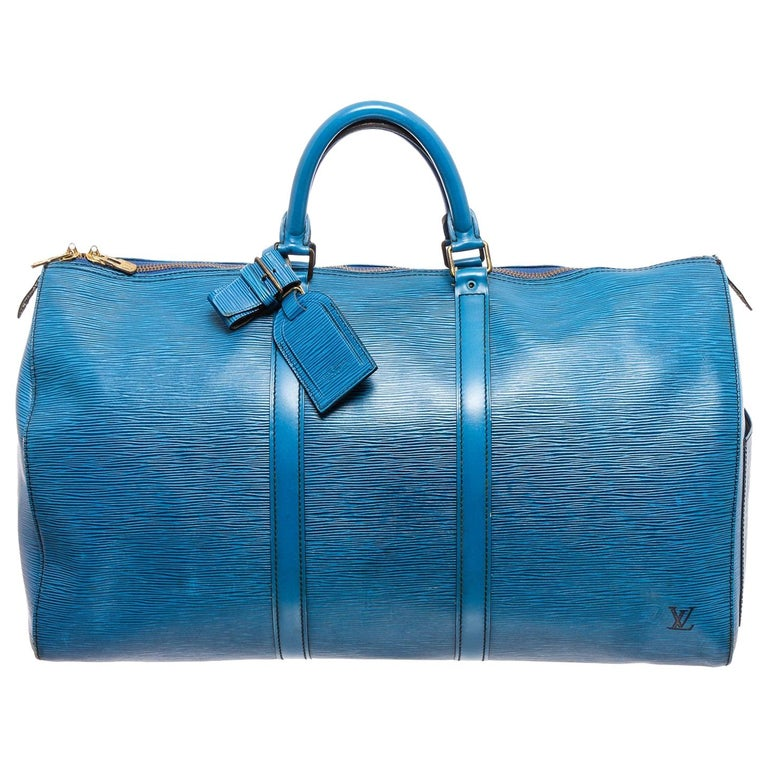 Louis Vuitton Blue Epi Leather Keepall 55 cm Duffle Bag Luggage For Sale