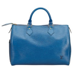Louis Vuitton Blue Epi Leather Leather Epi Speedy 30 France w/ Dust Bag