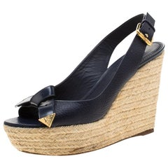 Louis Vuitton Blue Espadrille Slingback Wedges Platform Sandals Size 38.5