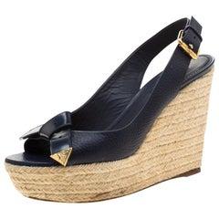 Louis Vuitton Blue Espadrille Slingback Wedges Platform Sandals Size 38.5