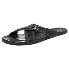 Louis Vuitton Blue Fabric and Leather Hamptons Thong Sandals Size 45.5