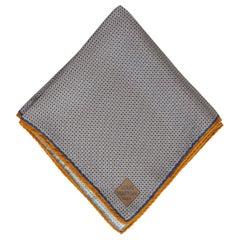 Louis Vuitton Blue Gold Silk Pocket Square Scarf