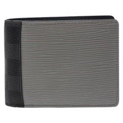Louis Vuitton Blue/Grey Epi Leather Canvas Patchwork Multiple Wallet