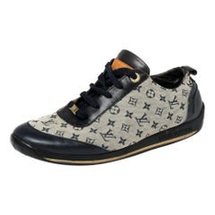 Louis Vuitton Blue/Grey Monogram Canvas And Leather Low Top Sneakers Size 38