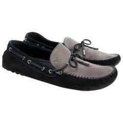 Louis Vuitton Blue & Grey Suede Men's Loafers 45.5