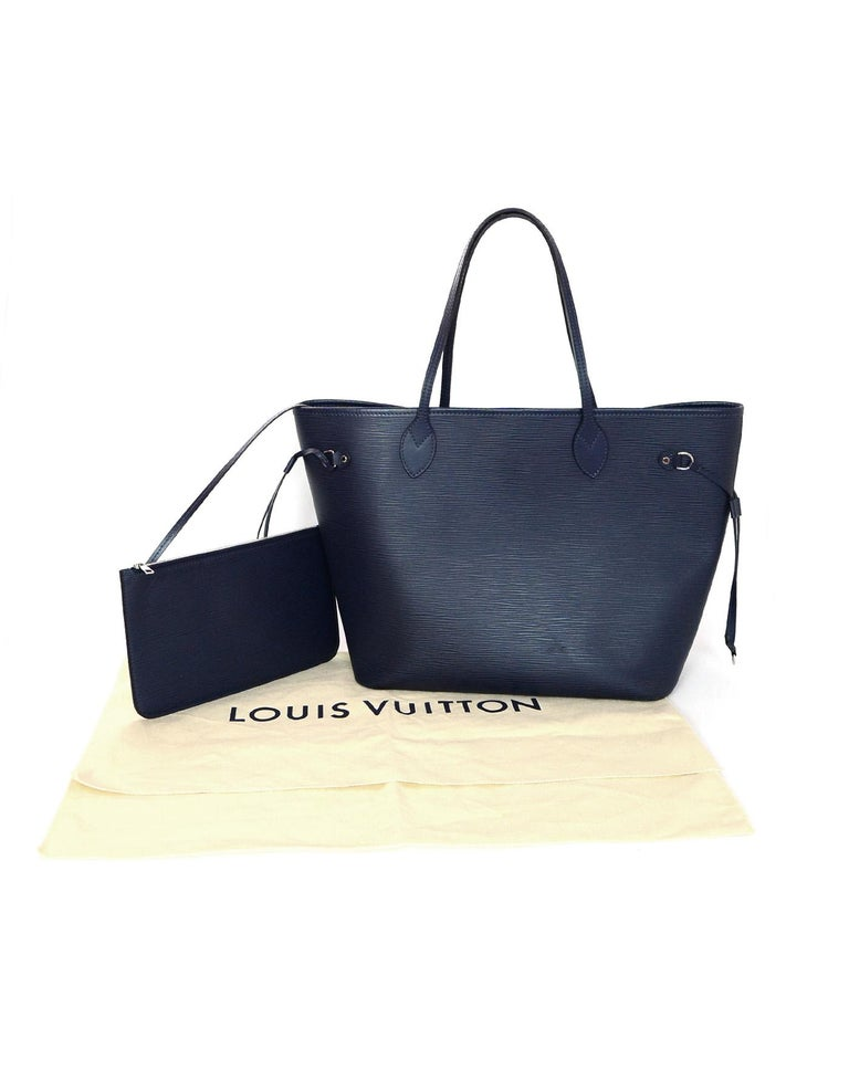 Louis Vuitton Blue Indigo Epi Leather Neverfull MM Tote Bag w/ Insert rt. $2,260 For Sale 10