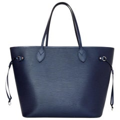 Louis Vuitton Blue Indigo Epi Leather Neverfull MM Tote Bag w/ Insert rt. $2,260