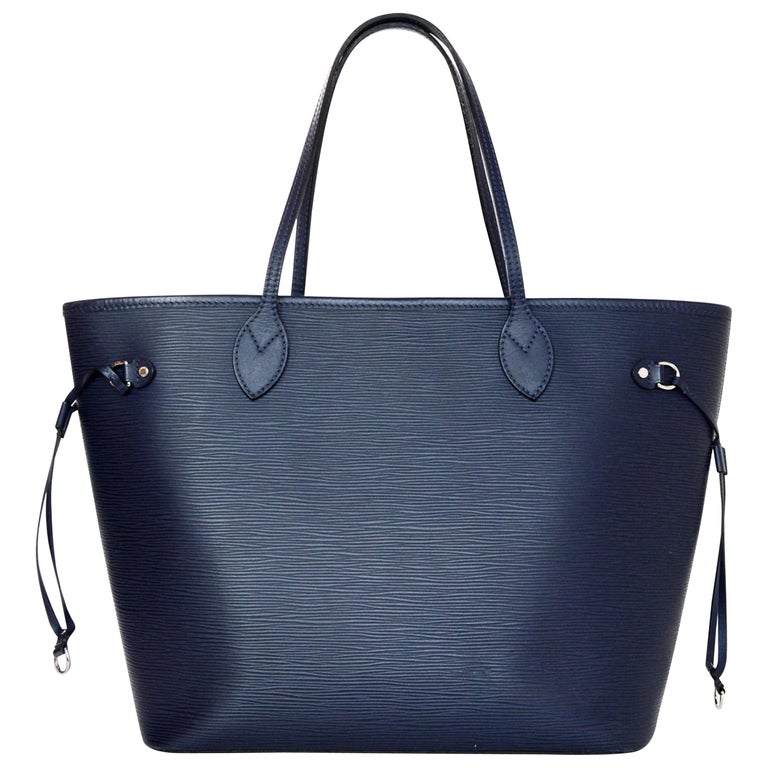 Louis Vuitton Blue Indigo Epi Leather Neverfull MM Tote Bag w/ Insert rt. $2,260 For Sale