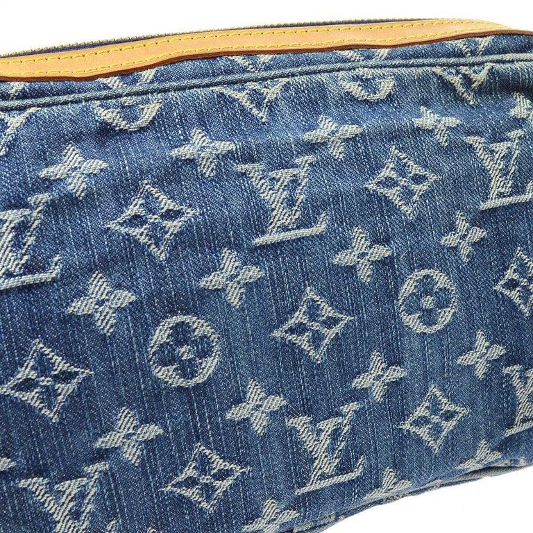 Louis Vuitton Blue Jean Denim Monogram Bum Fanny Pack Waist Belt Bag  Denim Leather Gold tone hardware Woven lining Date code present Made in France Adjustable belt size 34-45