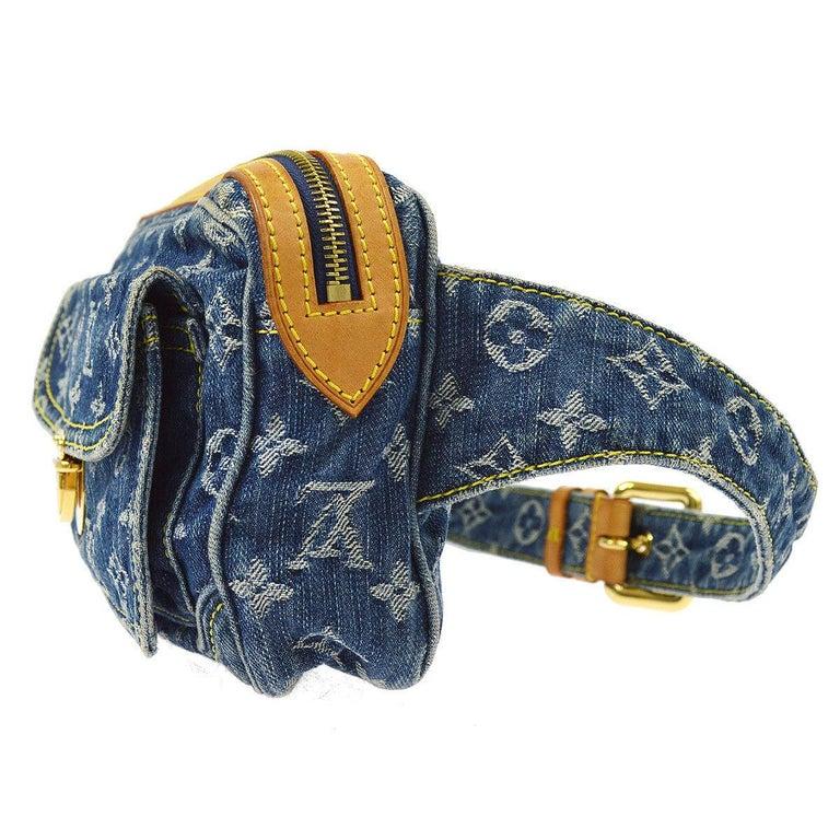 Louis Vuitton Blue Jean Monogram Bum Fanny Pack Waist Belt Bag In Good Condition For Sale In Chicago, IL