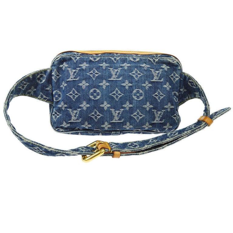 Louis Vuitton Blue Jean Monogram Bum Fanny Pack Waist Belt Bag For Sale 1