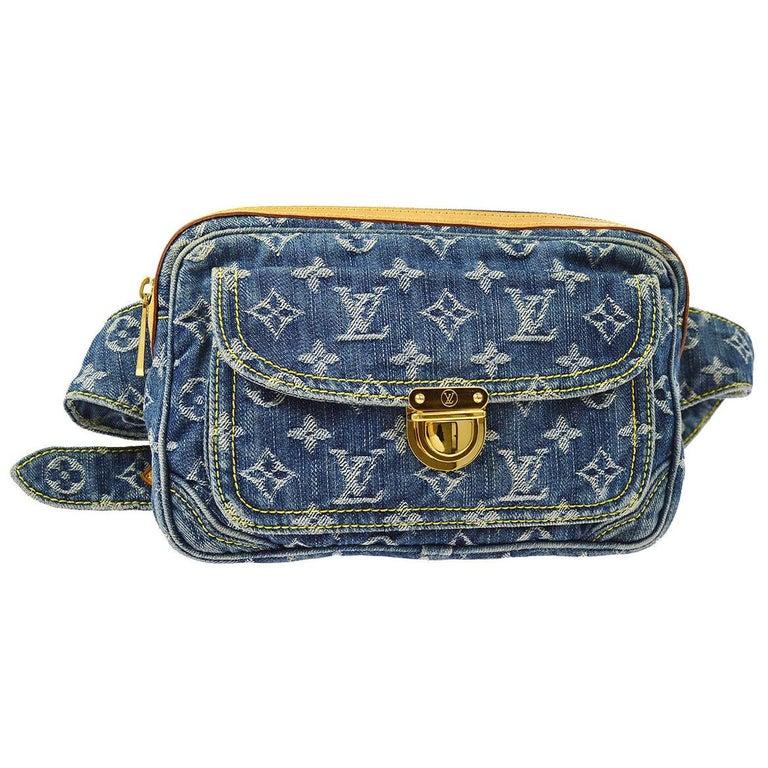 Louis Vuitton Blue Jean Monogram Bum Fanny Pack Waist Belt Bag For Sale