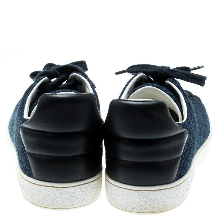 Louis Vuitton Blue Knit Fabric And Black Leather Front Row Lace Up Sneakers 39.5 In Good Condition For Sale In Dubai, Al Qouz 2