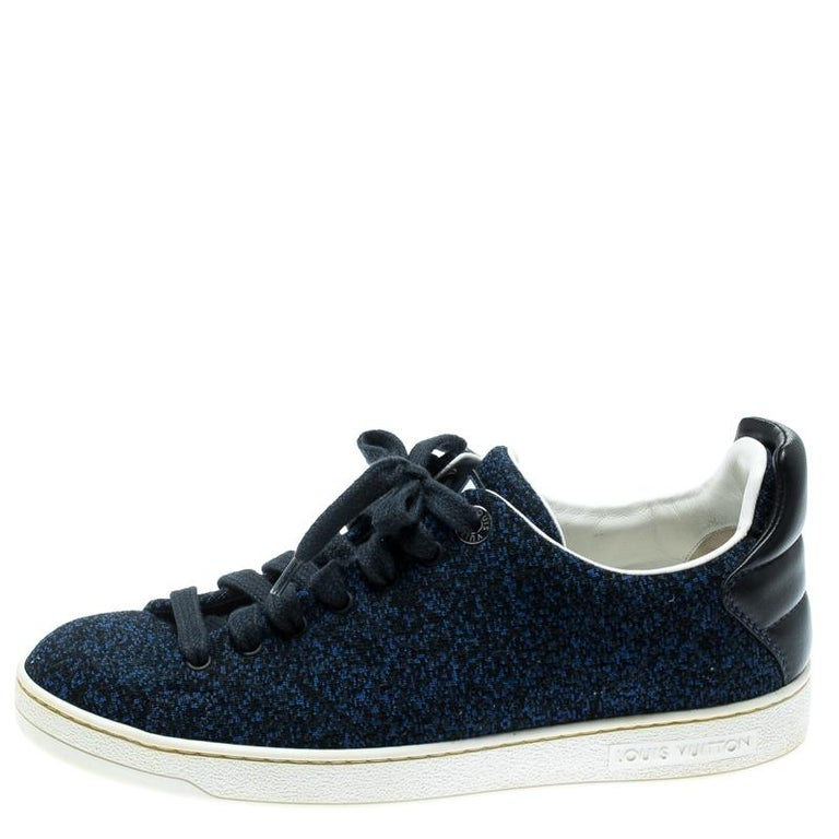 Louis Vuitton Blue Knit Fabric And Black Leather Front Row Lace Up Sneakers 39.5 For Sale 1