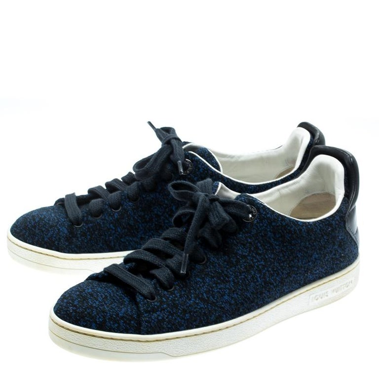 Louis Vuitton Blue Knit Fabric And Black Leather Front Row Lace Up Sneakers 39.5 For Sale 2