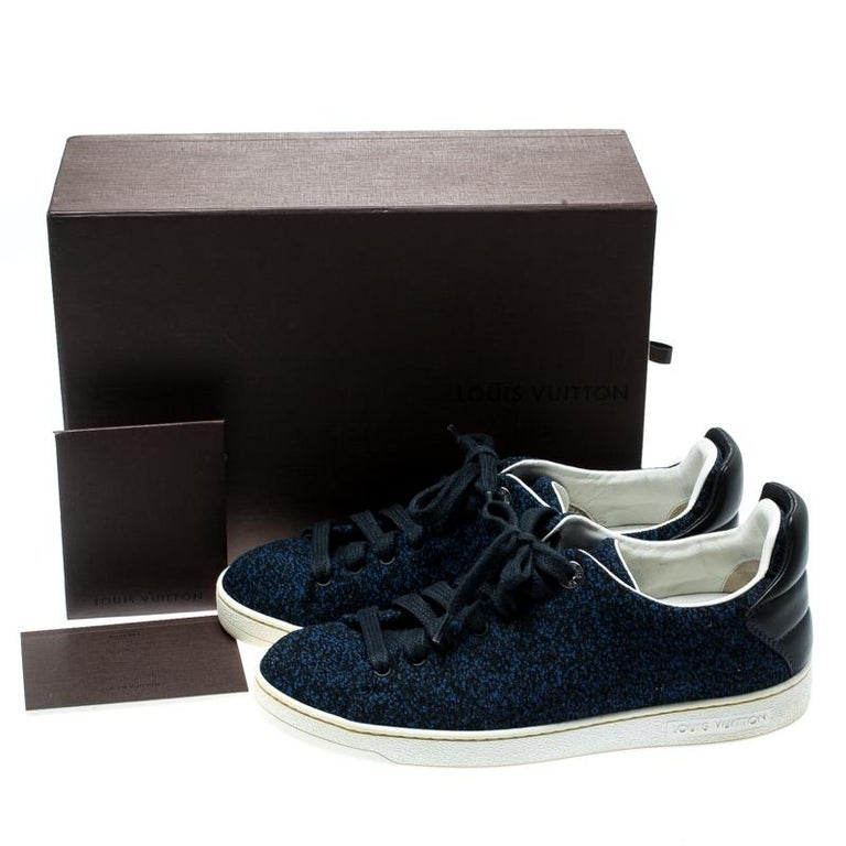 Louis Vuitton Blue Knit Fabric And Black Leather Front Row Lace Up Sneakers 39.5 For Sale 4