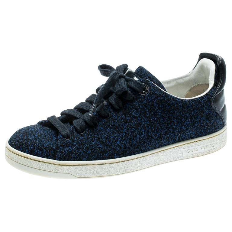 Louis Vuitton Blue Knit Fabric And Black Leather Front Row Lace Up Sneakers 39.5 For Sale
