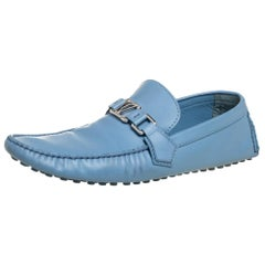 Louis Vuitton Blue Leather Hockenheim Loafers Size 43