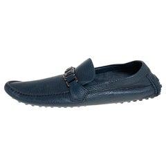 Louis Vuitton Blue Leather Hockenheim Slip On Loafers Size 44.5