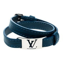 Louis Vuitton Blue Leather Silver Tone Wrap Bracelet 19
