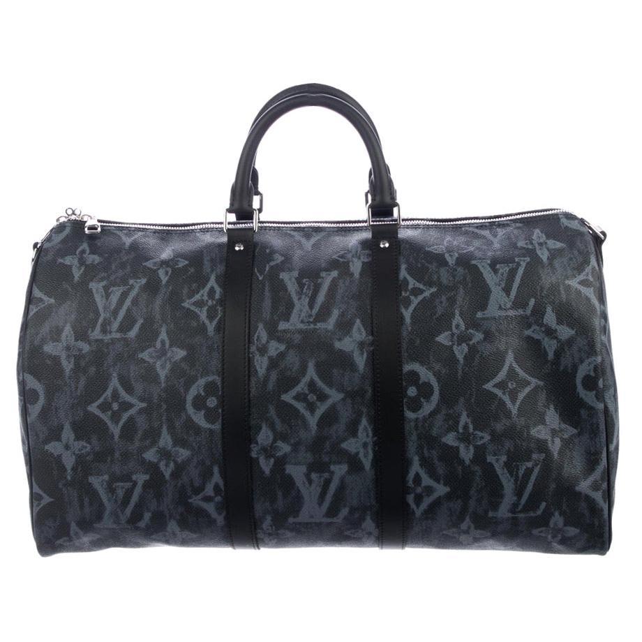Louis Vuitton Blue Logo Men's Women's Carryall Travel Weekend Duffle Bag
