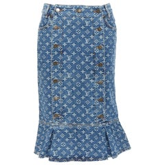 LOUIS VUITTON blue LV monogram jacquard denim button front flared hem skirt FR38