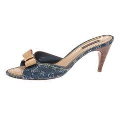 Louis Vuitton Blue Monogram Denim And Leather Bow Slide Sandals Size 41