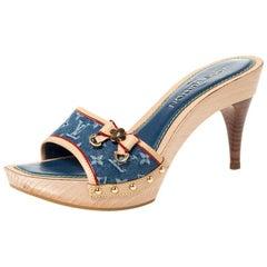 Louis Vuitton Blue Monogram Denim Bow Detail Slides Sandals Size 38