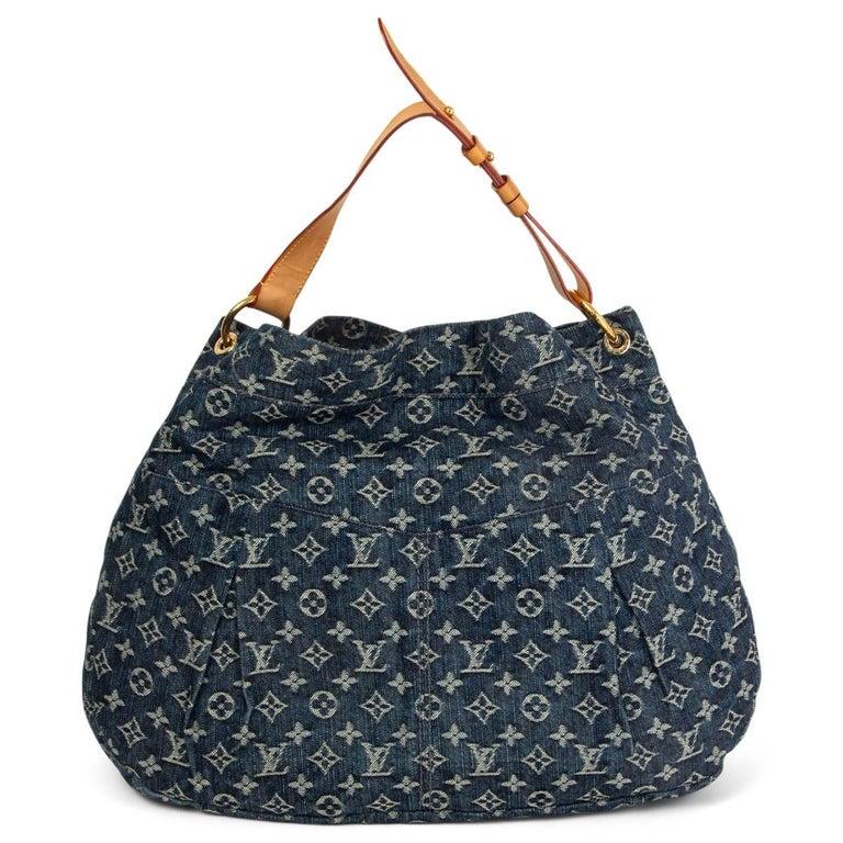 Black LOUIS VUITTON blue MONOGRAM DENIM DAILY GM Hobo Shoulder Bag For Sale