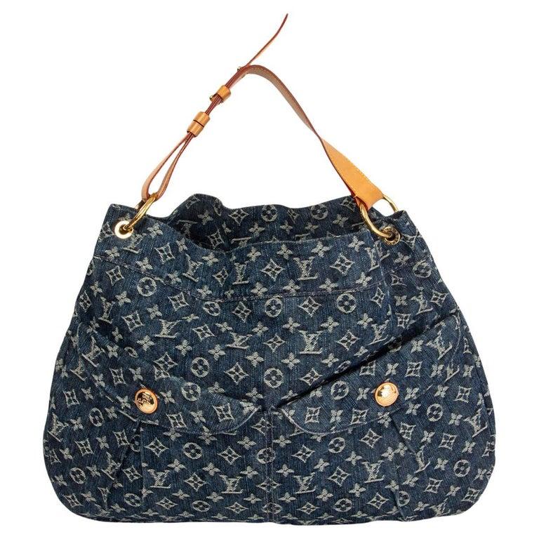 LOUIS VUITTON blue MONOGRAM DENIM DAILY GM Hobo Shoulder Bag For Sale
