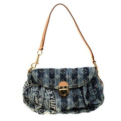 Louis Vuitton Blue Monogram Denim Limited Edition Mini Pleaty Raye Customise Bag