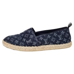Louis Vuitton Blue Monogram Denim Waterfall Espadrilles Size 37