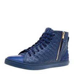Louis Vuitton blau Monogram Empreinte Leder ausdrucksstark Hohe Turnschuhe Größe 39