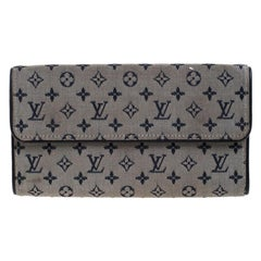 Louis Vuitton Blue Monogram MIni Lin Canvas Porte Tresor International Wallet